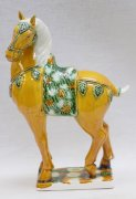 "9"" Tang tri-color glazed ceramic Horse Figurine Statue decorative ornament"