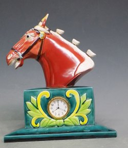 "9""Tang Tri-Color Ceramic Ruby Horse Head Statue Clock Symbol Of Success"
