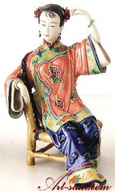 Ancient Chinese Lady - Ceramic Lady Figurine Relaxing