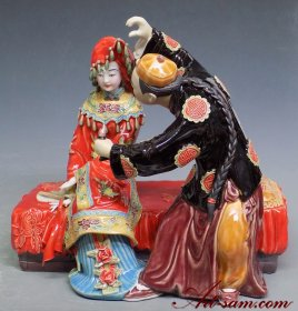 Bride & Bridegroom Porcelain Doll - Shiwan Chinese Ceramic Figurine Statue