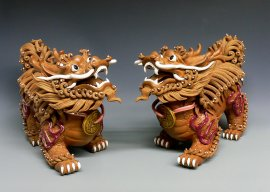 Chinese Feng Shui Qilin Dragon Imperial Guadian Dragon Ceramic Statue