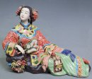 Chinese Lady - Delicate Shiwan Chinese Ceramic Lady Figurine Relaxing