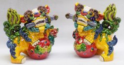 Koji Wucai Pottery Ceramics China Feng Shui Foo Dogs Figurine Statue PAIR