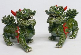 LARGE PAIR Chinese Feng Shui Fu Foo Dog Ceramic Statue Figurine