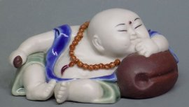 Porcelain Ceramic Doll Figurine Funny Joyful Happy Monk
