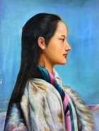 "Quality 2003 Old Hand Oil Painting On Canvas Chinese Pretty Ethnic Lady 24""x 20"""