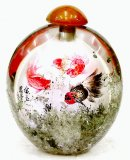 Rocky Crystal Snuff Bottle - Inside Painted Golden Fish