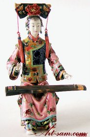 Zheng Musician Lady - Qing Dynasty Concubine Woman Ceramic / Porcelain Figurine