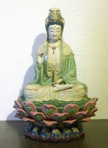 "14"" Masterpiece Chinese Ceramic / Porcelain Guan Yin Figurine St"