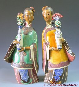 Ceramic Figurine Ancient Chinese Oriental Women 2/set
