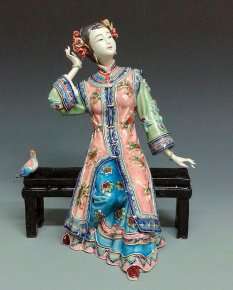 China Oriental Porcelain Dolls Ceramic Figurine Lady Bird