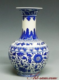 Chinese Blue & White Porcelain Vase Long Narrow Neck Genuine Hand-painted