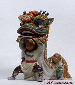 Exclusive Masterpiece Ancient Chinese Traditional Lion Dragon Dance Statue