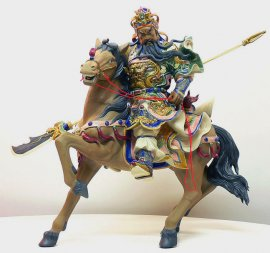 Guan-Gong Warrior Masterpiece Ceramic Porcelain Dolls Figurine Statue