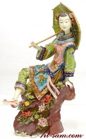 Joyful Lady - Shiwan Chinese Porcelain Lady Figurine