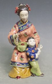 Master Oriental Woman Porcelain Ceramic Figurine Mother & Child