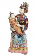 Mother & Baby Asian Oriental Dynasty Porcelain Lady Figurine