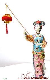 Qing Dynasty Chinese Concubine Ceramic / Porcelain Lady Figurine