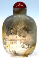 Agate Snuff Bottle - Inside Painting Village Landscape