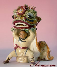 Ancient Chinese Lion / Dragon Dance Porcelain / Ceramic Figurine
