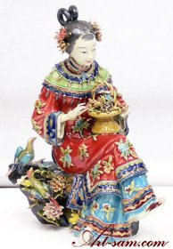 Birds & Flowers - Shiwan Chinese Ceramic Lady Figurine Masterpie