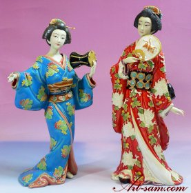 Ceramic / Porcelain Lady Figurine Set - Japanese Kimono Geisha