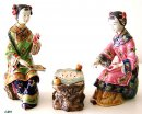 Exquisite Oriental Chinese Woman Ceramic Sculpture Figurine