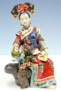 Feeding Bird - Chinese Porcelain Lady