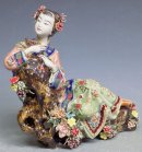 Oriental Chinese Porcelain / Ceramic Lady Figurine Chrysanthemum
