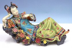 Pleasure & Joyful - Shiwan Chinese Ceramic Lady Figurine