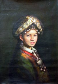 "Quality 2003 Old Hand Oil Painting On Linen Chinese Ethnic Girl 36"" x 24"""
