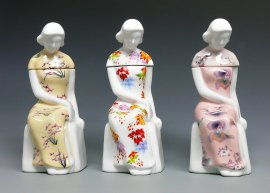 3 Pieces / Set Elegant Chinese Lady Figurine White Porcelain Collection