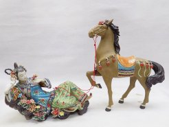 Ceramic Porcelain Dolls Figurine Oriental Lady Horse Relaxing 2/SET