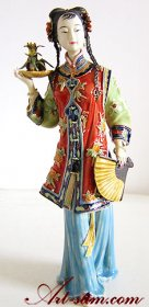 Chinese Oriental Lady Porcelain / Ceramic Figurine