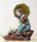 Chinese Porcelain / Ceramic Figurine - Oriental Lady Playing Bir