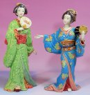 Japanese Kimono Geisha - Ceramic / Porcelain Lady Figurine Set