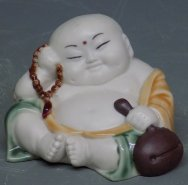 Porcelain Ceramic Doll Figurine Funny Lucky Happy Monk