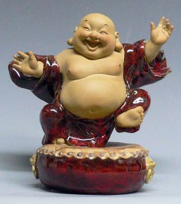 Porcelain Ceramic Doll Happy Monk Make You Laughing Figurine Statue