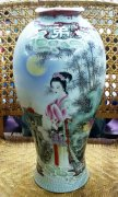 44cm Masterpiece Age-Old Famille Rose Porcelain Vase Hand Painted Ancient Woman