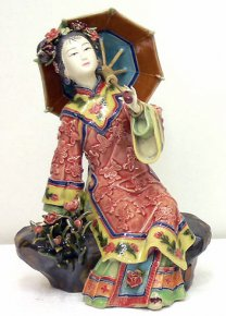 Chinese Oriental Lady Porcelain / Ceramic Figurine Dolls Relaxing
