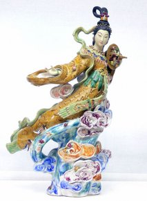 Immortal Riding a Celestial Crane : Porcelain China Sculpture Masterpiece