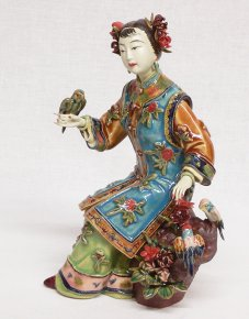 Master Chinese Porcelain Ceramic Girl Figurine Birds Flowers