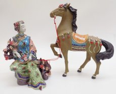 Oriental Chinese Porcelain Doll Ceramic Figurine Lady Horse SET