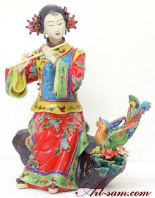 Oriental Shiwan Chinese Ceramic Porcelain Doll Lady Figurine