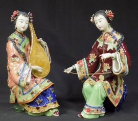 PAIR Chinese Ceramic Porcelain Doll Figurine Musician Pipa & Erhu Lady