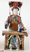 Qing Chinese Concubine Woman Ceramic / Porcelain Figurine Painting