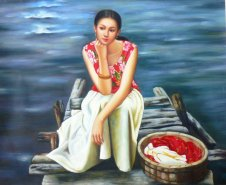 "Quality 2003 Old Hand Oil Painting On Canvas Chinese Pretty Lady 24""x 20"""