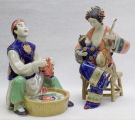 The Breast Feed - Oriental Family Man Mother & Child Ceramic Sculpture PAIR