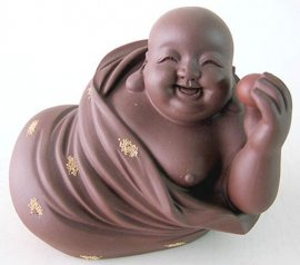 Vintage Chinese Yixing Zisha Purple Clay Ceramic Figurine Buddha Monk