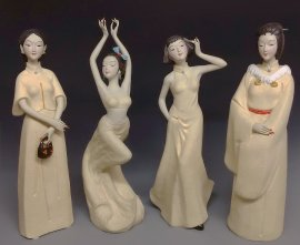 Chinese Figurines Dolls Exclusive Masterpiece Asian Ceramic Sculpture 4/Set